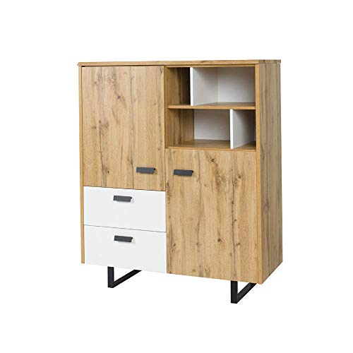 Amazon Marke - Movian Douro Sideboard, Wotan-Eiche/Alpinweiß Farbe