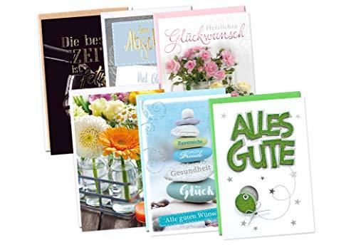 Set 6 Glückwunschkarten zum Geburtstag - Karten ohne Text - Allgemeine Wünsche und Abschied - für Männer und Frauen - DIN B6 176 x 125 mm - Klappkarten mit Briefumschlägen