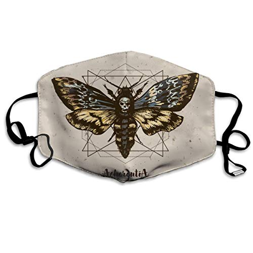 TDynasty Psychedelic Death's Head Hawk Moth Unisex Reusable Face Masks Bandanas Half Mask for Outdoor Cycling