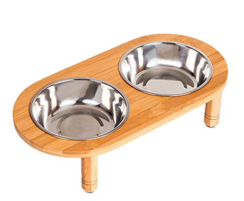 Lepet Raised Dog Bowls Cat Food Stand with 2 Stainless Steel Bowls, Elevated Small Dog Bowls with Bamboo Stand