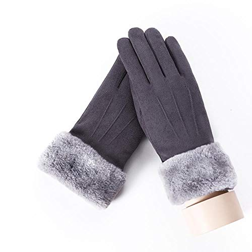 GUANAI Gant Women's Winter Warm Three Rows of Cute Gloves Double Thickening Wrist Leather Leather Touch Screen Driving Gloves B Gray