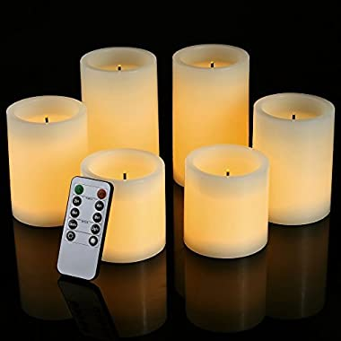 Pandaing Flameless Flickering LED Candles with 10-Key Remote Control Timer Classic Pillar Optical Fiber Wick Real Wax Candles, Battery Powered, Ivory Color, Set of 6