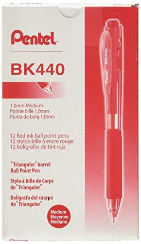 Pentel BK440B WOW! Retractable Ballpoint Pen, 1mm, Red Barrel/Ink (Pack of 12)