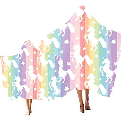 Strandtuch mit Kapuze Tier Regenbogen Pferd Sternenklarer Himmel Drucken Bademantel Mikrofaser Kind Erwachsene Poncho HandtuchStrand Schwimmbad Baden Surfen (Farbe 1, Erwachsener: 150 × 200 cm)