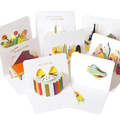 moin moin メッセージ カード バースデー 誕生日 カラフル 立体 上品 高級感 白 ゴージャス シンプル 3D 飛び出す カード + 封筒 8種セット (誕生日ケーキ/ピアノ/プレゼントボックス/小鳥/お花(フラワー) / 街並み/お城/フランス