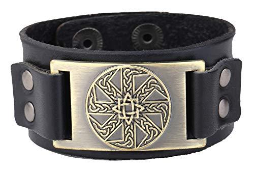 My Shape Vintage Irish Knot Slavic Wicca Norse Runes Charm Cuff Adjustable Leather Bracelets - - Medium