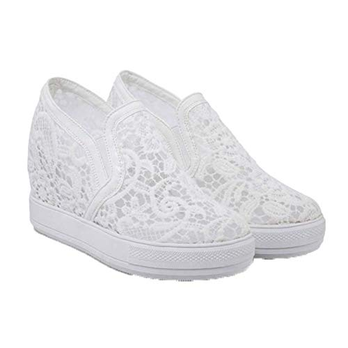 Zapatos de tacón de cuña deslizantes en el talón Oculto para Mujer, Zapatillas de Deporte de Malla Informales, Zapatos Gruesos de Primavera y Verano, Transpirables