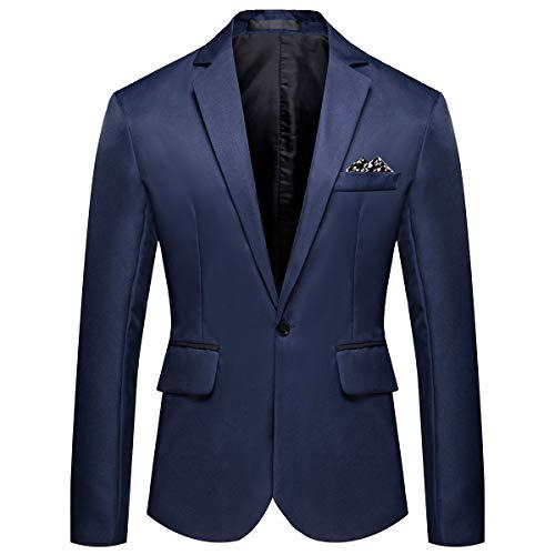 YOUTHUP Blazer da Uomo Elegante Giacca da Completo per Uomo Slim Fit Leggera Giacche 1 Bottone