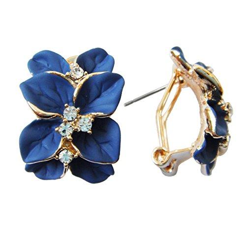 Navachi - Pendientes de oro de 18 quilates con diseño de hojas de esmalte azul de cristal Az2121e omega