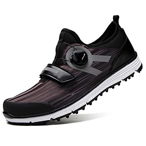 Zapatos de Golf de Moda para Hombres,BOA Zapato de golfista junior Mantiene el equilibrio Estable Antideslizante Zapatos cómodos para caminar Golf Deporte, 18 hoyos, Campos de golf,Dark gold,8.5US