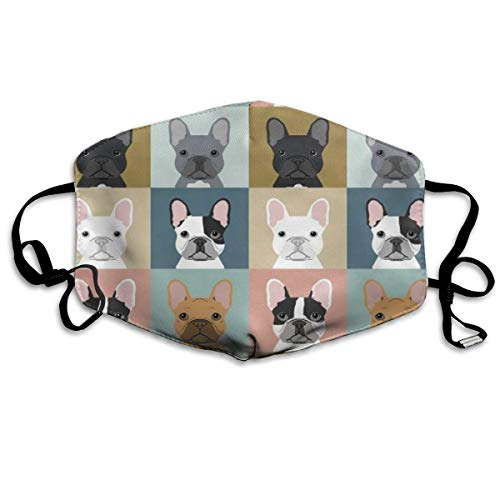 Washable Reusable French Bulldog Pattern Mouth Mask Dustproof Half Face Breathable Mouth Mask For Men Women Boys Girls With Adjustable Ear Loops