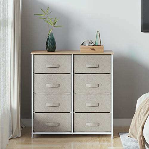 Joolihome - Cajonera con 4 niveles, organizador de tela con 8 cajones, cajones de tela no tejida y escritorio E1, para sala de estar, dormitorio, habitación de los niños (beige)