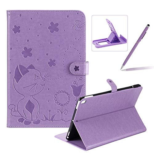 Herzzer Wallet Flip Casse for iPad 10.2/ iPad Air 3 10.5'/iPad Pro 10.5',Cute Cat Bee Floral Embossed PU Leather Folio Stand Case with Auto Wake Sleep Smart Magnetic Cover,Purple
