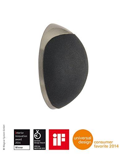 WAGNER Design-Wand-Türstopper - Screw OR Glue/Schrauben oder Kleben - Metall gebürstet, Edelstahloptik, thermoplastischer Kautschuk, schwarz, Durchmesser Ø 38 x 16 mm, Designpreis - 15513111