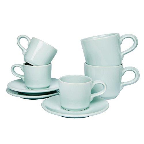 Vaisselle maison rustique Riva pastel vert menthe - ensemble de service : tasse, bol à céréales, assiette - look shabby chic, Céramique, menthe, Espressotasse (6er - Set)