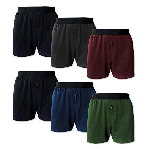 SGS 6 Pack Herren Boxershorts Vorteilspackung Baumwolle Unterhosen für Männer mit praktischem Eingriff und Knopf in Geschenk Box (Bunt, L)