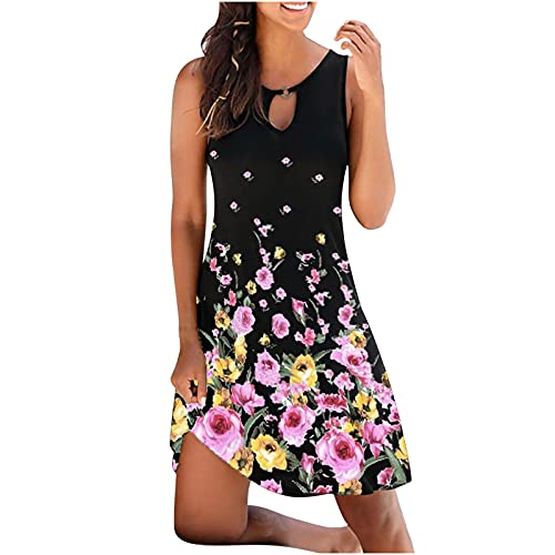 AMhomely Women Dresses Sale,Ladies Fashion Vintage O-Neck Sleeveless Flower Printed Round Button Dresses UK Size Party Elgant Dresses Clearance Work Dress Office Dressing