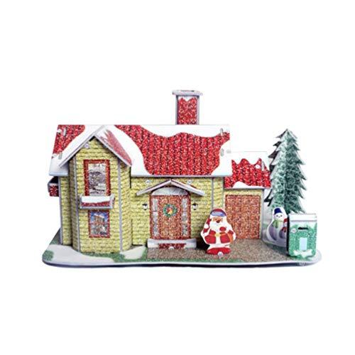 STOBOK Weihnachten 3D Puzzles DIY Papier Haus Puzzle Dorf Ornament pädagogisches Spielzeug Figur Modell Urlaub für Kinder Kinder (gelb)