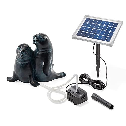 Solarbetriebener Wasserspeier Seehundpaar - inkl. Solar Teichpumpe 5 Watt 250 l/h - Maße ca. 200 x 200 x 220 mm - Wasserspiel für Gartenteich Teichfigur Gartenbrunnen, esotec 101656