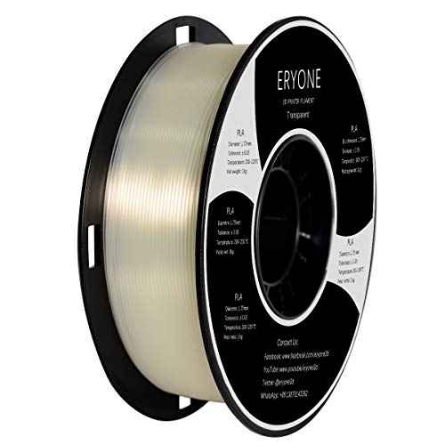 PLA Filament 1.75mm, ERYONE Filament PLA 1.75mm, 3D Printing Filament PLA for 3D printer, 1kg 1 Spool, Transparent