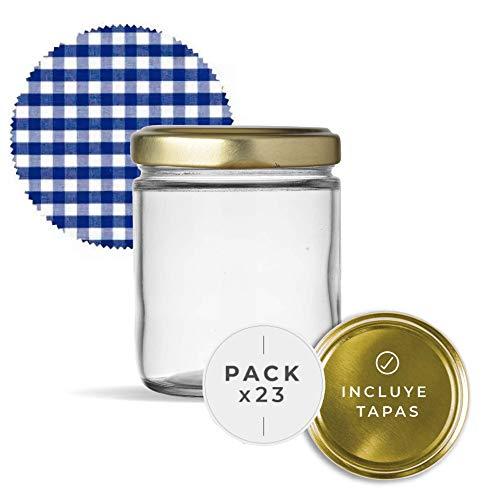 Tarros de Cristal con Tapas para conservas Pack de Frascos hermeticos de 445 ml con Tapa de Rosca y cubretapas Cerrado hermético para Todo Tipo de conserva casera. (23 Unidades)
