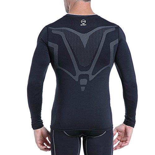 AMZSPORT Herren Kompressions-Shirt langärmlig Funktionsshirts Baselayer Langarm Schwarz S - 5