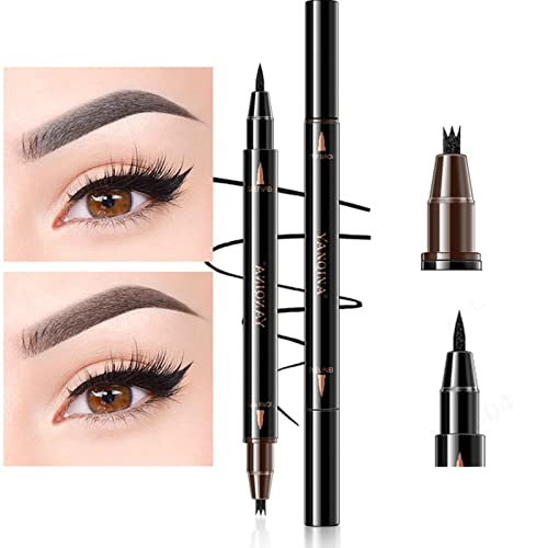 2 in 1 Liquid Eyeliner & Three Tips Eyebrow Pencil for Eyes Makeup,...