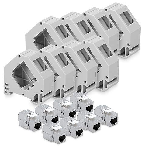 kwmobile Keystone Modul und Hutschienenadapter Set - passt auf genormte Hutschiene - 8X CAT 6A Module 8X Halter - RJ45 Buchse geschirmt - werkzeuglos