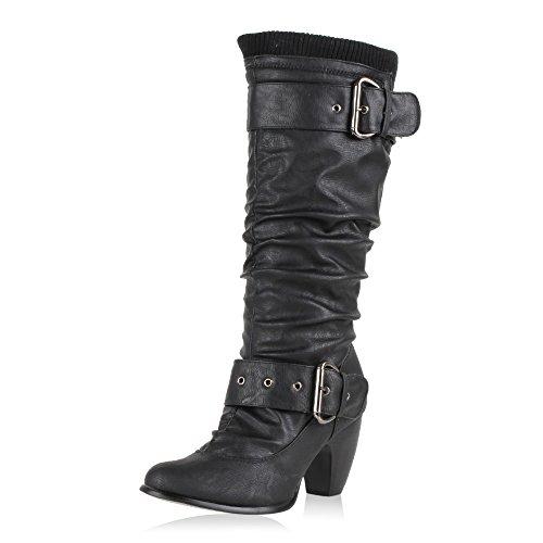 SCARPE VITA Moderne Damen Stiefel Gefüttert Hochschaft Schuhe Strick 165372 Schwarz Schnallen 39