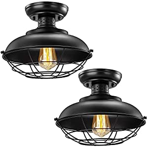 Industrial Ceiling Light 2 Pack, Vintage Rustic Semi Flush Mount Ceiling Light, Farmhouse Antique Caged Style Ceiling Lamp Fixture for Hallway Stairway Foyer Kitchen Garage Porch Entryway