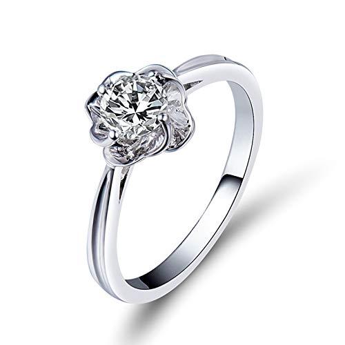 AnazoZ Anillo Mujer Diamantes,Anillo Solitario Mujer Oro Blanco 18K Plata Flor con Redondo Diamante 0.4ct Talla 15