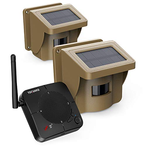 TOGUARD Solar Driveway Alarm - 1/2 Mile Long Range Wireless PIR Motion Sensor & Detector, IP66 Waterproof Outdoor Security Alert System Fits for Monitor & Protect Property