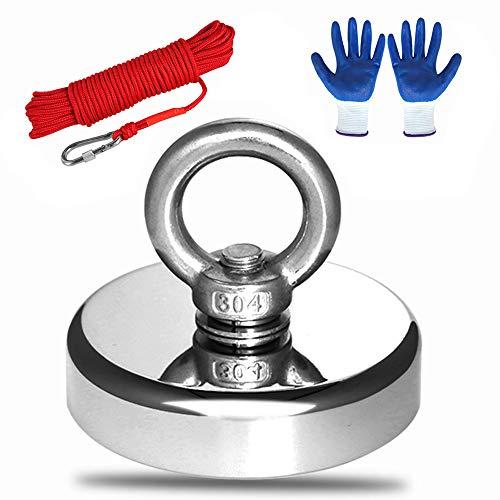 MEIXI 272KG Haftkraft Doppelseitig Neodym Ösenmagnet mit Seil (20M/66ft) und einem Paar Handschuhen, Super Stark Magnete Perfekt zum Magnetfischen Magnet Angel Ø 75mm mit Öse Neodymium Topfmagnet