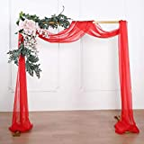 Efavormart 18Ft Red Sheer Organza Curtain Panels, Window Scarf Valance Wedding Arch Draping Fabric for Top Table Event Party Home Decor Stair Bow Backdrop Curtain Decoration