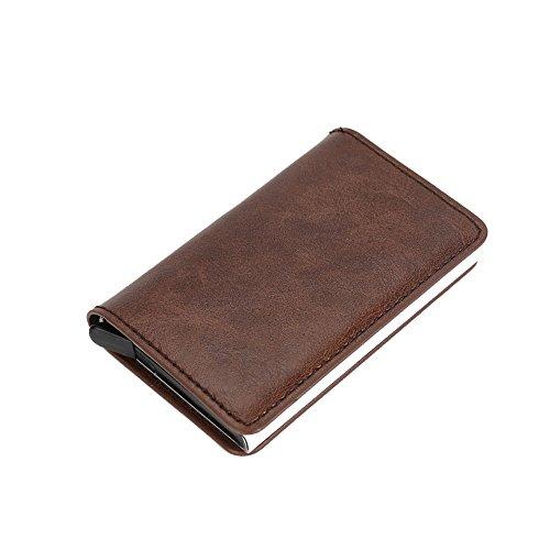 LXJ ® Store RFID bloqueo titular de tarjeta de crédito, funda de cuero titular de la tarjeta protectora para viajes y trabajo, caso de tarjeta de crédito para tarjetas de visita, metal de acero cartera delgada, caja de identificación de metal