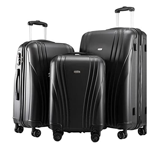 Kofferset 3-teilig Reisekoffer Trolley Hartschalenkoffer ABS TSA-Schloss 4 Rollen Schwarz Vol. S-44L · M-67L ·L-108L
