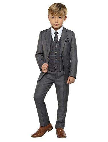 Paisley of London Jungen-Anzug, grauer Anzug, Hochzeits-Anzüge, Page-Jungen-Anzüge, graue karierte Weste, 1–13 Jahre Gr. 5 Jahre, *