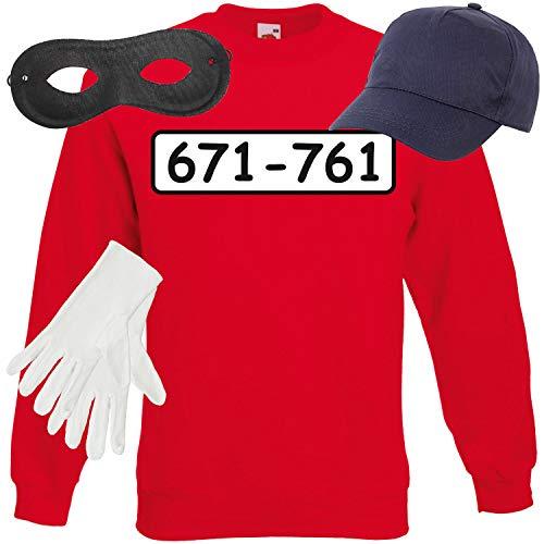 Shirt-Panda Unisex Sweatshirt Panzerknacker Kostüm + Cap + Maske + Handschuhe Verkleidung Karneval SET05 Sweater/Cap/Maske/Handschuhe L