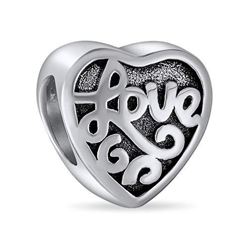 Estilo antiguo palabras románticas que dicen amor corazón forma encanto cuenta para las mujeres novia esposa hija oxidada .925 plata de ley se ajusta a la pulsera de encanto europeo