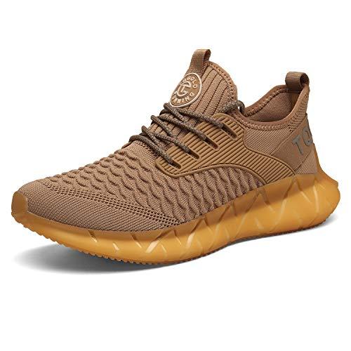 tqgold® Herren Damen Sportschuhe Laufschuhe Atmungsaktiv Sneaker Leichte Trainers Schuhe Gelb 43