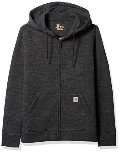 Carhartt Women's Clarksburg Full Zip Hoodie (Regular and Plus Sizes), Black Heather N, XX