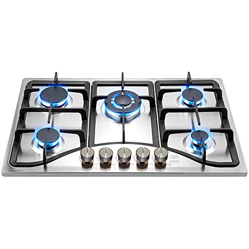 AVERA AI5 Parrilla a gas de Empotrar con 5 Quemadores en Acero Inoxidable. Estufa para cocina.