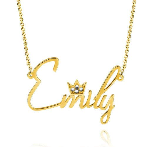 Smileface Custom Name Crystal Crown Necklace Personalised Stylish Jewellery - Gold Plated Name Plate Pendants Necklaces Gifts for Women Girls Birthday Christmas - Customised Chain Necklace Length