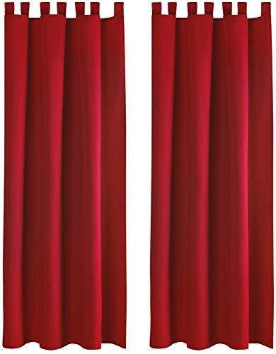 Bestlivings Blickdichte Gardine im 2er Pack mit Schlaufen (140x145 cm/Rot), in vielen Farben