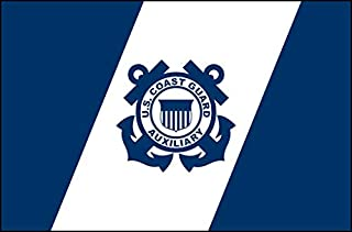 American Vinyl Blue and White US Coast Guard Auxiliary Flag Shaped Sticker (USCG Navy Logo)