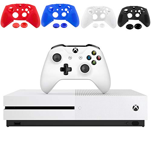 Microsoft Xbox One S 1TB Console - White - with 1 Xbox Wireless Controller - 4K Ultra Blu-ray and 4K Video Streaming - Family Home Christmas Holiday Gaming Bundle - iPuzzle 4 Colors Silicone Cover