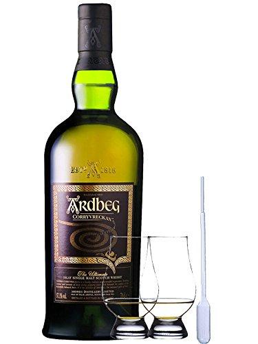 Ardbeg Corryvreckan Islay Single Malt Whisky 0,7 Liter + 2 Glencairn Gläser und Eingewpipette