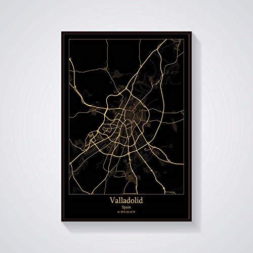 Pintura Decorativa Lienzo,Valladolid-España, Póster De Mapa, Oro Negro, Palabra Moderna, Mapa De La Ciudad, Pintura Artística Minimalista, Mural Simple Vertical, Póster De Arte De Pared Para Dec