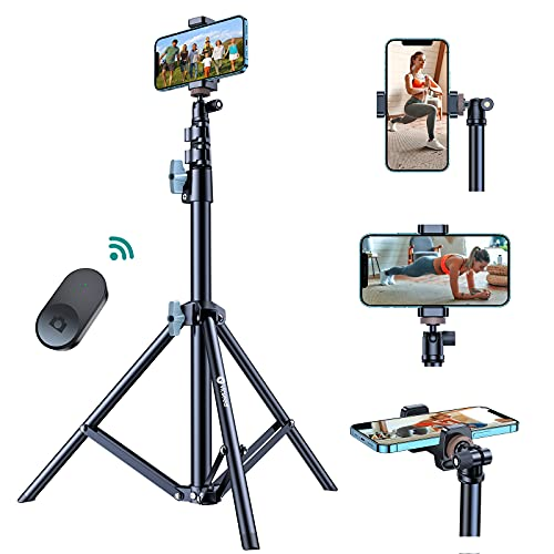 60'' Phone Tripod, VICSEED Universal Phone Tripod Stand with Bluetooth Remote, Tripod for iPhone Heavy Duty Fully Adjustable Fits iPhone 13...
