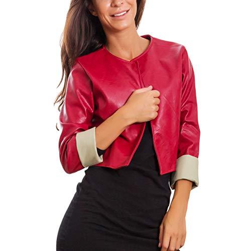 Toocool - Giacca Donna Corta Ecopelle Bolero Senza Chiusura Giacchetto Sexy JL-7860 [Taglia Unica,Rosso]